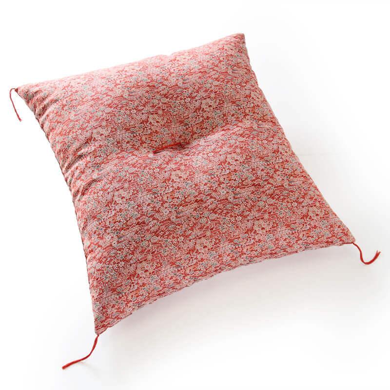 職人手作り座布団、インド綿シードコットンを100%、小絞花 えんじ色