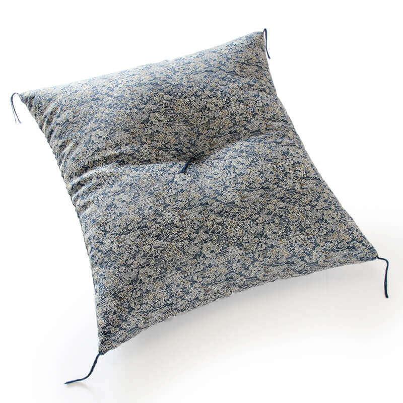 職人手作り座布団、インド綿シードコットンを100%、小絞花 紺色