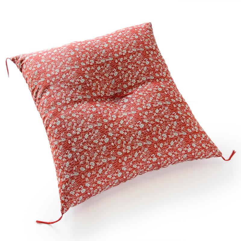 職人手作り座布団、インド綿シードコットンを100%、小絞花 赤色
