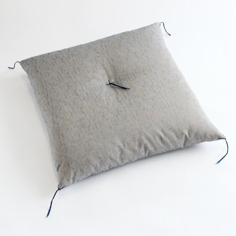 職人手作り座布団、インド綿シードコットンを100%、芙蓉 青色